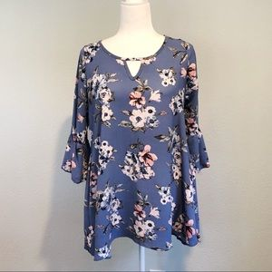 Light Blue Foral Tunic